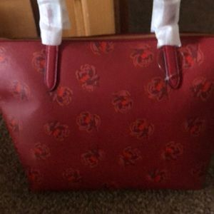 Coach Bags - COACH TAYLOR FLORAL PRINT LEATHER TOTE RED APPLE